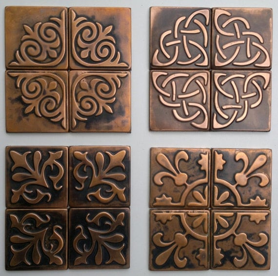 Kitchen Metal Wall Decor: Copper Kitchen Backsplash SET OF 4 TILES Rustic By