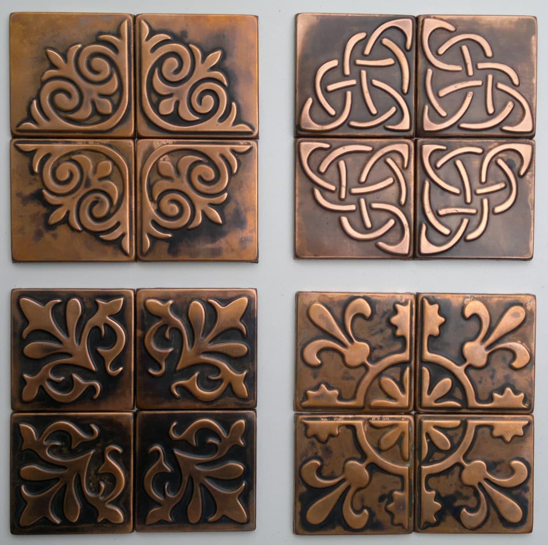 Kitchen Wall Decor Tiles: Copper Kitchen Backsplash SET OF 4 TILES Rustic By
