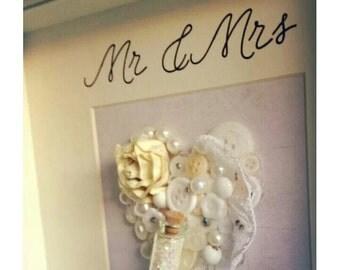 Elegant handmade embellished ivory heart frame