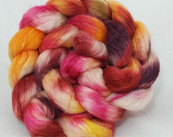 hand dyed polwarth/silk roving(combed top) for spinning or felting -- OOAK colorway 'Butterfly Garden'--4 oz.