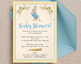 Personalised Peter Rabbit Beatrix Potter Baby Shower Invitation Cards