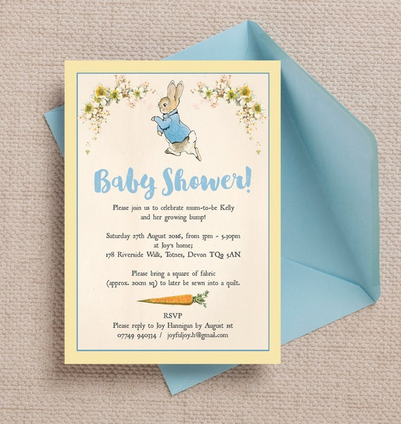 baby shower invitations personalised rabbit beatrix potter baby shower 12235