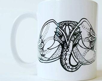 Beautiful hand painted drinks mug - elephant mandala style design