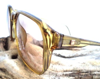 70s Gold ZEISS Oversized sunglasses Eyeglasses Horn Rim Germany Yellow Amber Transparent Vintage 70s 80s Boho Chic Rec Wayfarer 56-16 Mint