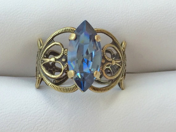 Denim Blue Crystal Marquise Cut Adjustable Filigree Ring