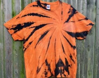 Black & Orange Spiral Tie Dye T-Shirt (XL)