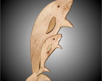 Vertical Beluga Whale Set Wall Sculpture