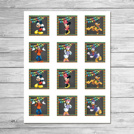 mickey mouse clubhouse square labels 2x2 inches favor tags mickey mouse clubhouse birthday. Black Bedroom Furniture Sets. Home Design Ideas