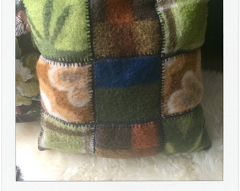 pillow of vintage blankets