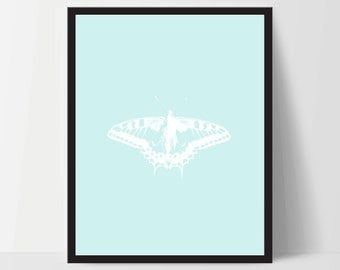 Butterfly Light Blue, Printable, Wall Art, Artwork, Home Decor, Modern Print, Print Art, Nature Art, Color, Decorations, Digital Print