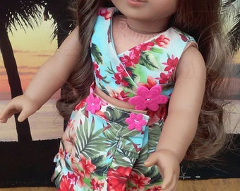 Pink Hibiscus Hawaiian beach outfit for 18 inch American Girl Kanani,Fashion Doll apparel,Handcrafted in USA,American Girl Doll Clothing
