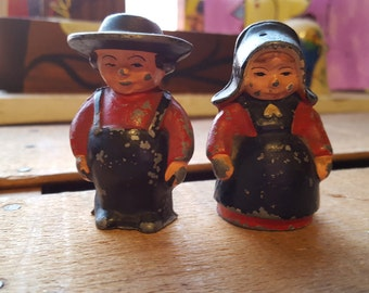 Antique Cast Iron Amish Man and Woman Salt and Pepper Shakers