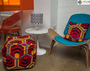 Red and mustard bean bag cube stool pouffe