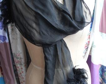 Black chiffon scarf with ostrich feather trim