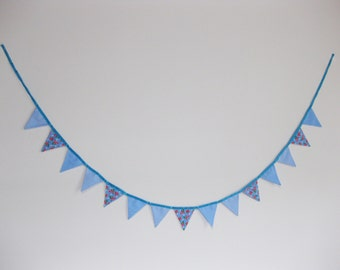Handmade Blue Fabric Flags | 2 Meters and 15 Flags