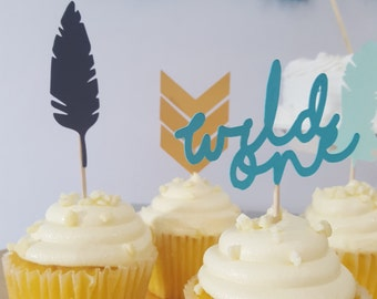 Tribal Wild One First Birthday Party Cupcake Topper