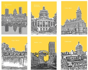 6 Set Rochester NY City Skyline art prints wall decor for home or office. Great Deal *Buy 4 get 2 city prints FREE! Pick out your colors