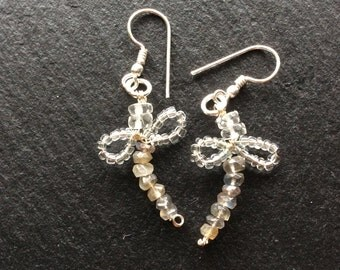 Clear quartz and Labradorite Dragonfly Earrings