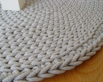 Grey, cotton cord, round rug, crochet rug, crochet carpet, knitted carpet, knitted rug, home & decor, furniture, floor decoration, floor