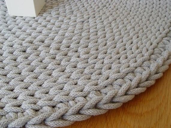 grey cotton cord round rug crochet rug crochet carpet. Black Bedroom Furniture Sets. Home Design Ideas