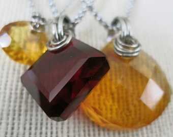 Zen Simple and Spiritual Natural Red Topaz and Golden Citrine Gemstone Pendants