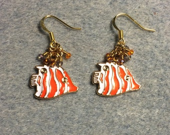 Orange and white striped enamel fish charm earrings adorned with tiny orange and clear Chinese crystal beads.