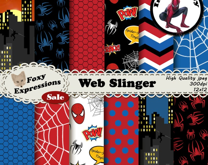 Web Slinger digital paper inspired by Spiderman Comics by Stan Lee. Pack includes spiders, webs, spiderman swinging off building, comic tags