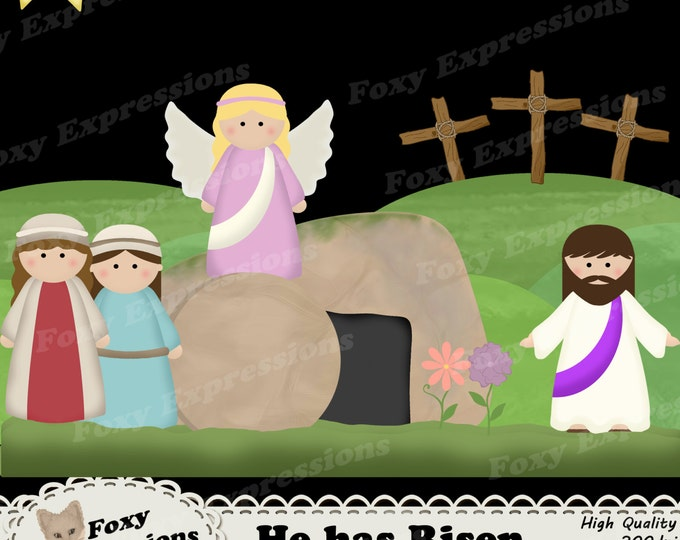 He has Risen clip art is great for kids and crafts. It comes with Jesus, Angel, both Marys, cross, tomb, rock, hill, grass, sun, & flowers