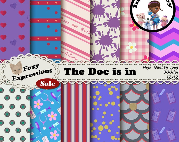 The Doc Is In digital paper inspired by Doc Mcstuffins, includes Big Book of Boo Boo, Stuffy, Lambie, Chilly, Sir Kirby, Hippo, chart & more