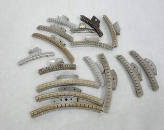50s vintage aluminum hair clips, lot of 16 clips, ranging from 5 inch to 3 inch