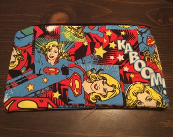 Supergirl girl power stiff fabric pouch! Good for make up, pencils, as a wallets, 3DS/3DSXL case, phone case, etc