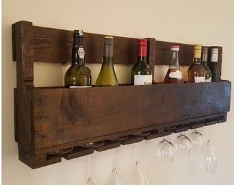 Unique Handmade Rustic reclaimed pallet wood wine rack holds 12 bottles and 8 glasses