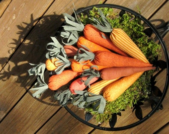 Fabric Carrots, Decorative Carrots, 12 Fabric Ornamental Carrots, Bowl Ornies
