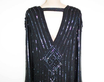 70s black sequin top / silk and beads beaded blouse / 1970s bling top