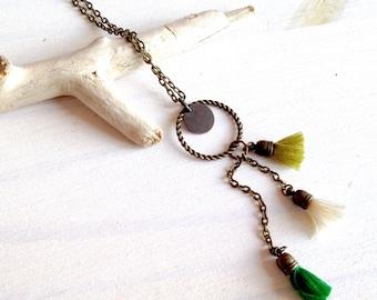 Saltire PomPoms in cotton on chain brass - Pompom - jewelry is hand - Bohemian jewelry - jewelry etniques - vintage jewelry - jewelry bobo-