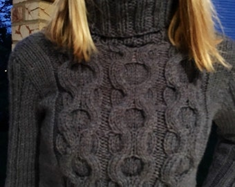 Cropped cable knit sweater, Handknit pullover, XSmall