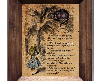 Alice in Wonderland - Cheshire Cat - Vintage Style Book Page - Available in Multiple Sizes 5x7, 8x10, 11x14, 16x20, 18x24, 20x24, 24x36