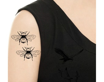 TEMPORARY TATTOO -  Hummingbird or Bumblebees Tattoo / Tattoo Flash