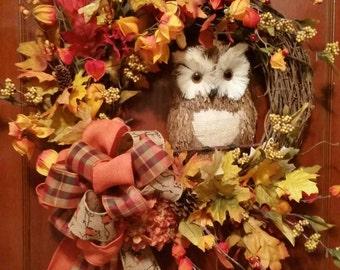 Autumn Owl grapevine wreath