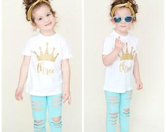 Birthday Crown Shirt, Three, Princess, Birthday, Girl Birthday Shirt, Crown, Glitter Shirt, Choose from - baby, infant, toddler, girls