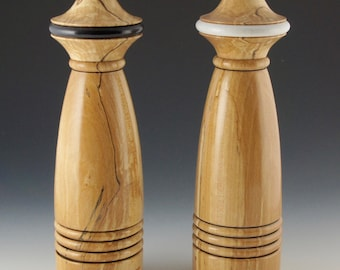Salt and pepper mills made from spalted beech.
