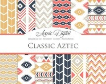 SALE Classic Aztec Digital Paper. Scrapbook Backgrounds. Aztec patterns, tribal geometric, native, navy, coral, yellow Commercial Use, Downl