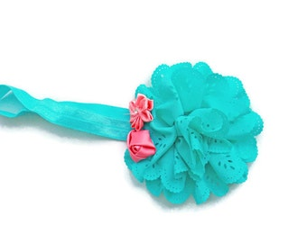Aqua and coral flower headband