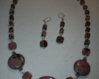 Gorgeous Rhodonite Stone Necklace and Earring Set