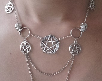 Handmade gothic rock necklace with skulls and pentagrams