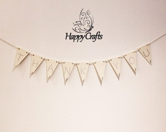 Thanks You Wooden Bunting Cream