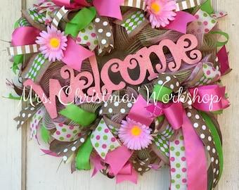 Spring wreath summer wreath burlap wreath deco mesh wreath welcome wreath all year
