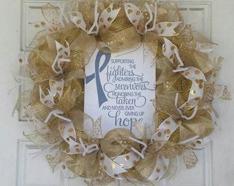Childhood Cancer Awareness Gold Deco Mesh Wreath September Door