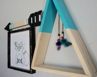 Turqouise Blue Teepee Shelf/Shadow Box with Feathers
