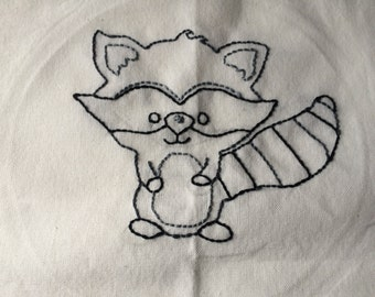 Little Raccoon Hand Embroidered Dish Towel